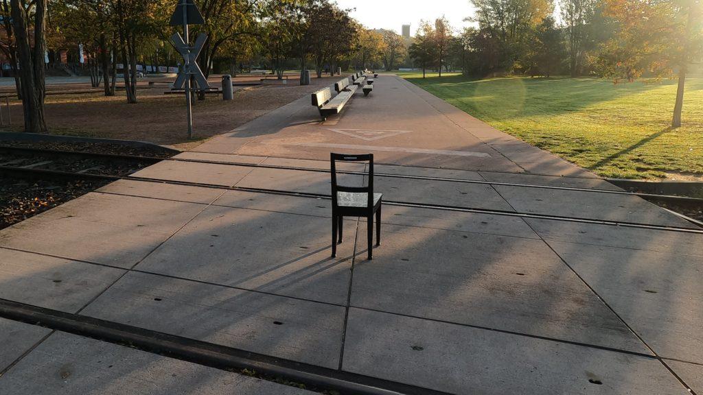 Herbst Stuhl in Morgensonne